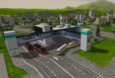 Moderner Tram- und Busbahnhof