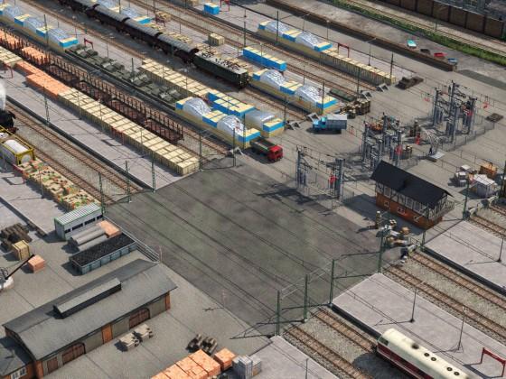 Güterbahnhof- Querbahnsteig im Betrieb
