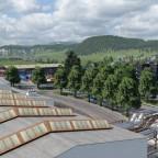 Sicht vom Swissprinters Druckereigebäude Richtung Brittnau