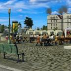 Hafenarbeiter bei der Mittagspause auf dem Marktplatz