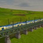 Zwei Metronom Züge auf der Brücke