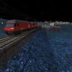 Eisenbahnfahrt bei Nacht