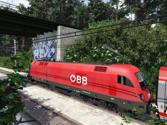 Eurocity der ÖBB auf der Schnellfahrstrecke