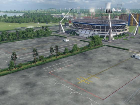Bauphase 1 Fußball Stadion in der Vorstadt