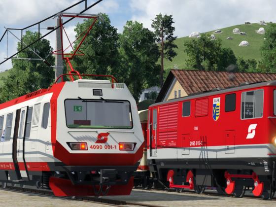 2095 trifft 4090 beim Bhf. Ober-Grafendorf