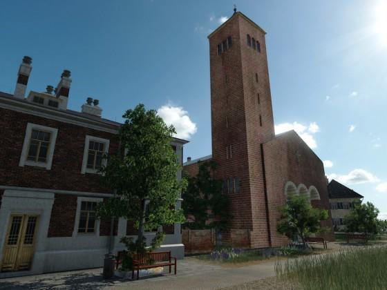 Das Rathaus und die Kirche in der Ortsmitte des Inseldorfes
