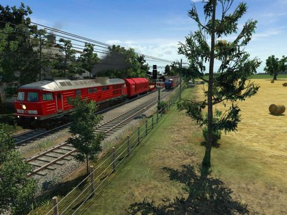 Hier kreuzt der Güterzug nach Wismund mit der Regionalbahn in Richtung Langenheim.