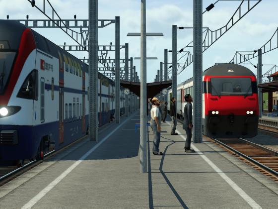 S-Bahn (Stadler Kiss) und IR (Einheitswagen VI und IC2000)