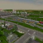 Dreifache Einfahrt in den Bahnhof Sugnens