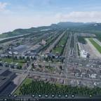 Sicht auf den Flughafen der ersten Stadt