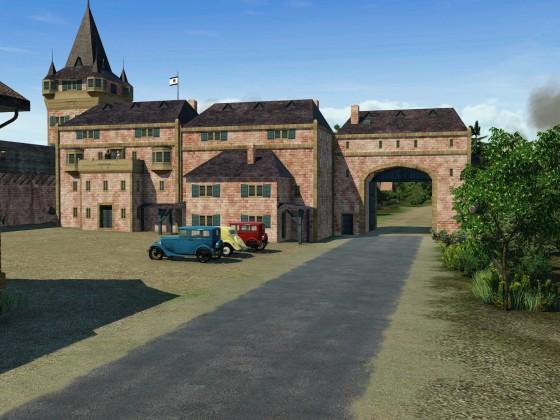 Romantisches Dorf mit Markt