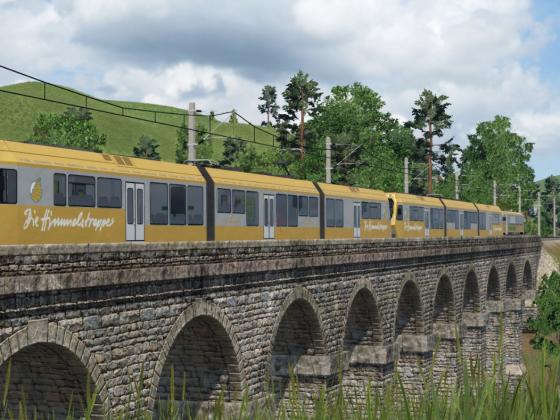 2x Himmelstreppe und NÖVOG VT 13 (Waldviertelerbahn) bei der Pielachbrücke