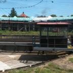 Im Bahnpark Augsburg, funktionierende Drehscheibe