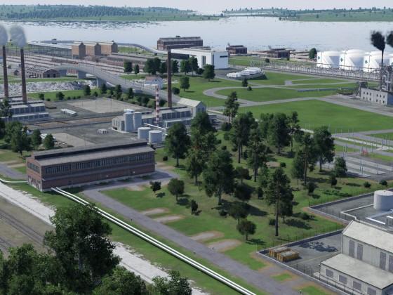 Blick über die Kunstofffabriken Richtung Hafen