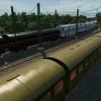 Zugbegegnung eines TEEM Güterzuges, einem EX 141 Börde und P 3856 an der Einfahrt Rangierbahnhof Seddin