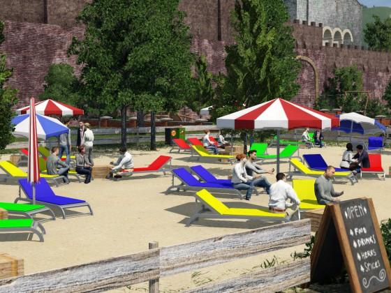 Relaxing, Networking: Beachclub