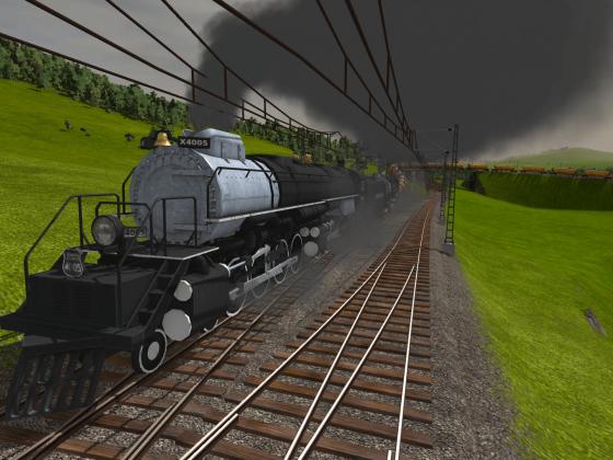 Big Boy mit langem Güterzug