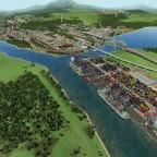 Der neue Containerhafen und blick auf den Güterbahnhof