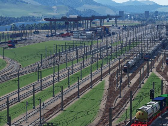 Sicht auf einen Teil des Güterbahnhofes und dem Containerterminal