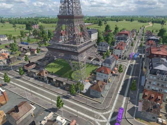 Häuser in Stützen des Eiffelturms