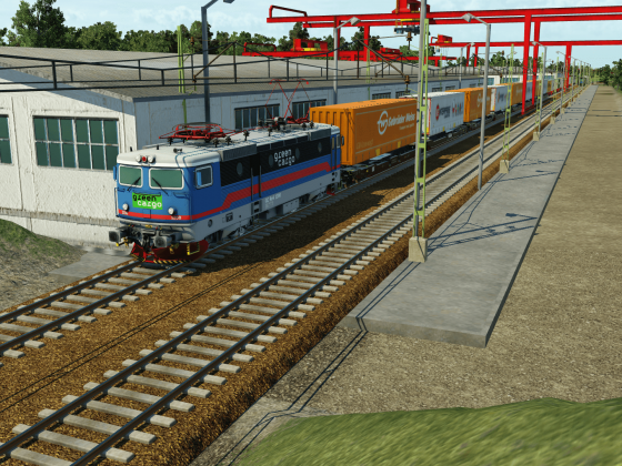 Green Cargo Rc4 with intermodal train