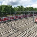 Bahnbetriebswerk innerhalb den Wäldern von München