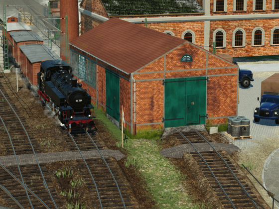 Güterzug im Schuh-Werk