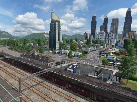 Blick auf Neubraunshain vom Bahnhof mit Firmenzentrale im Vordergrund
