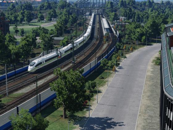ICE 1849 biegt auf die SFS ab