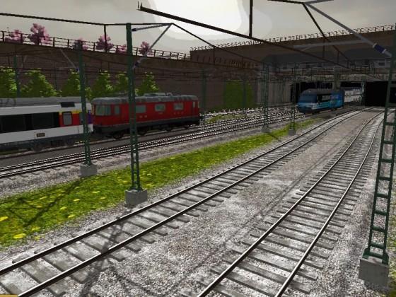 SBB Re 420 mit SBB Schnellzug und SBB Re 460 mit IC 2000 kreuzen sich vor dem Bahnhof