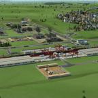 Blick vom Hügel auf die Cargo Station