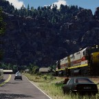 Alco C425 crossing the mountain village