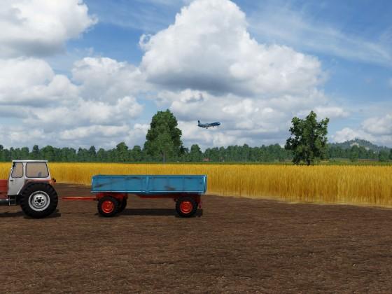 Anflug während der Ernte