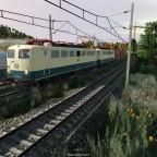BR 140 in Doppeltraktion mit Kohlezug
