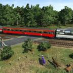 Bahnübergang in ländlicher Umgebung