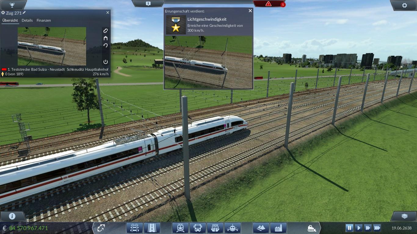 Der erste Zug der 300 km/h erreicht ist die 320 meter lange ICE Velaro Garnitur