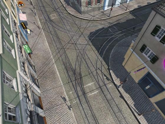 Kreuzung mit überbreitem Gehweg und 10-m-Tramkurve