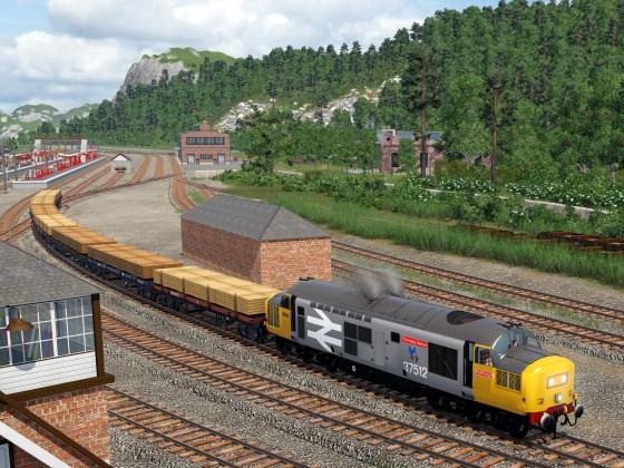 Class 37 mit Holztransport