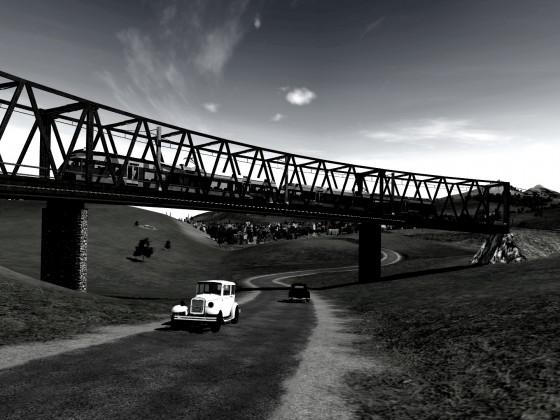 Be 2/6 auf Brücke