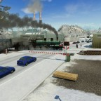 Bahnübergang im Winter.