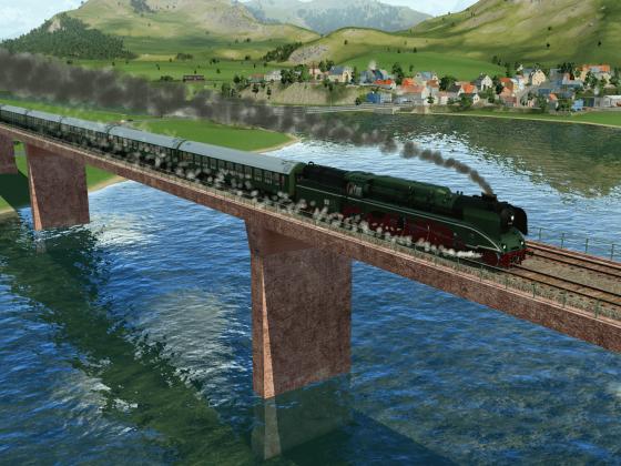 BR 18201 mit Y-Wagen auf Brücke
