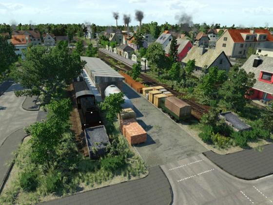 Nebenbahn-Bahnhof Mit Güter anschluss