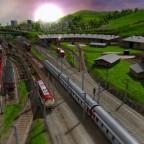 Bahnhofsvorfeld Worthing mit Betriebswerk und HBF im Hintergrund von Osten