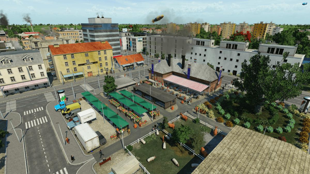 geschäftiges Treiben auf dem Marktplatz Echterdingen