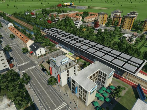 Echterdingen Bahnhof und Umgebung.