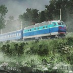 [TpF1] Mysterious atmosphere of the railway in sunset fog