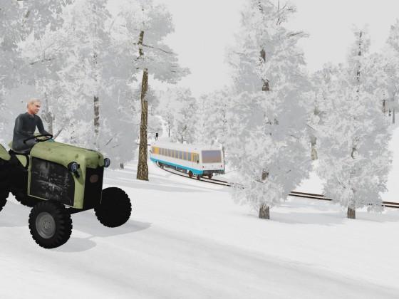 Strohgäubahn-VT410 und VT411 im winterlichen Wald