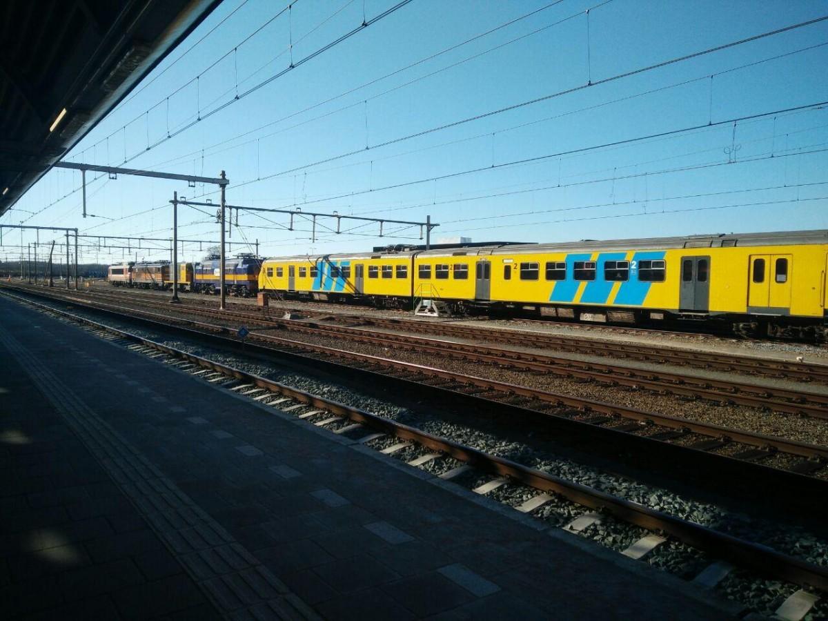 Interesting train line-up in Amersfoort