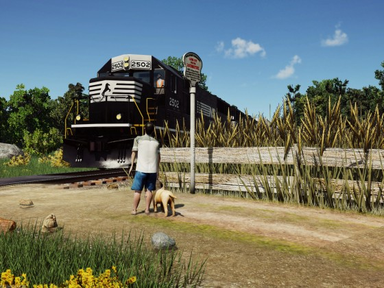 Kid and puppy staring at the NS SD70 loco