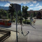 Tram Tatra and park in little late USSR city